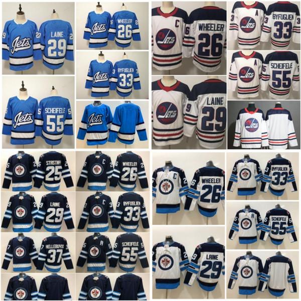 Neue Männer 29 Patrik Laine Trikot 26 Blake Wheeler 33 DustinByfuglien 55 Mark Scheifele 25 Stastny 37 Hellebuyck Winnipeg Jets Trikot