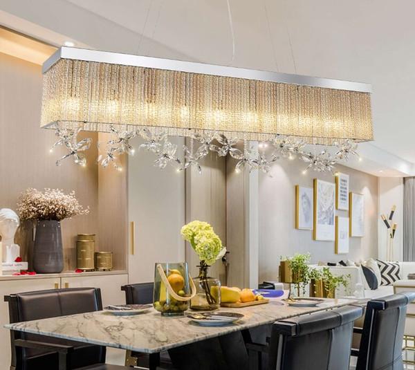 Dimmbare Kristallleuchter des neuen Entwurfs beleuchten moderne hängende Leuchter des Rechtecks, die Esszimmerschlafzimmerchrom geführtes MYY beleuchten