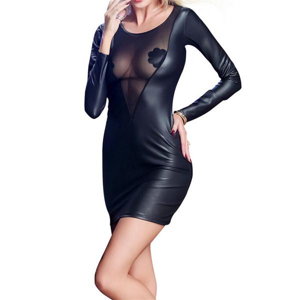 Vestito da autunno 2018 casuale delle donne del cuoio del Faux Vestito Corto nappa nero Mini partito sexy del merletto Abiti Vestidos XXL