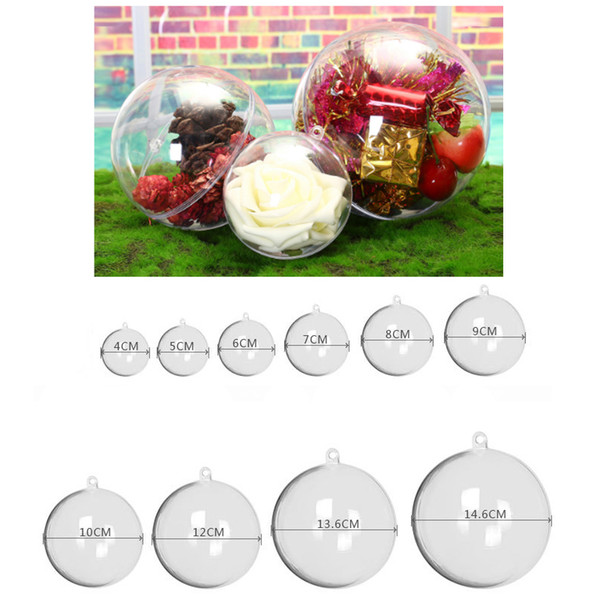 4cm~16cm Christmas Hanging Clear Plastic Fillable Ornaments Ball Plastic Ball Transparent Flower Ball Festival Wedding Party Decorations