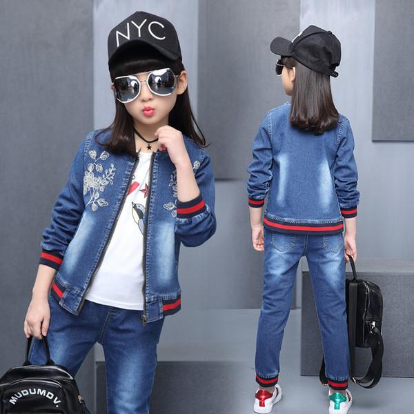 Çocuk Kız Sonbahar Bahar Giyim Seti Bebek Çocuk Işlemeli Giyim Setleri O-Boyun Denim Ceket + Jean Pantolon 2 Adet Suit Set