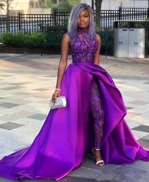 Purple Lace Satin Sexy Jumpsuits Prom Dresses With Detachable Skirt Appliqued Sequined African Girls Evening Party Pant Suits BC2479
