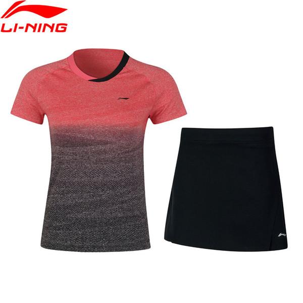 Kadın Badminton Yarışması Setleri T-Shirt + Etekler Nefes Profesyonel LiNing Spor Seti AATN018