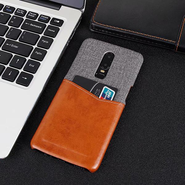 Pour oneplus 6T Case Slim Canvas Leather Wallet Porte-carte de crédit Pochette Étui de protection Oneplus Couverture pour un plus 6 7