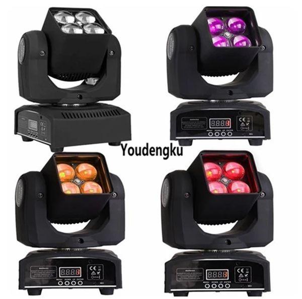 4pcs 4x10w 4 en 1 rgbw con dmx 512 Beam Wash Mini cabezas móviles Proyector zoom led luz móvil