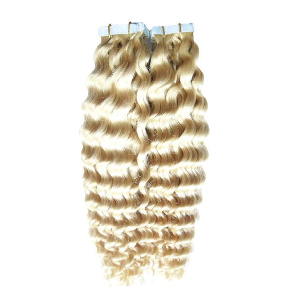 #613 Bleach Blonde Virgin Peruvian Hair 200g Kinky Curly Tape In Human Hair Extensions Cheap 80 PCS PU Skin Weft Curly Tape Hair Extensions