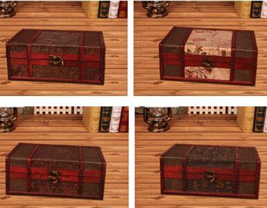 Vintage Metal Lock Cajas de almacenamiento de madera tradicionales chinos Retro Treasure Chest Classic Desktop Jewelry Display Case