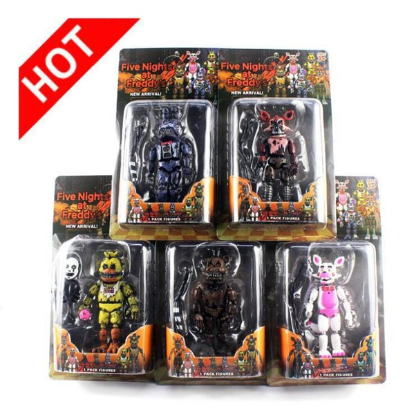 top popular FNAF Five Nights at Freddy's Nightmare Freddy Chica Can be assembled building blocks PVC Action Figures model dolls Toys 5pcs Lot 2021