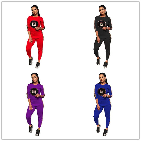 Brand Fashion F letter Tracksuit Women Sequins FF Pullover Hoodie Sweatshirt + Pants Joggers Set Sports Suit Casual Outfits Designer Clothes