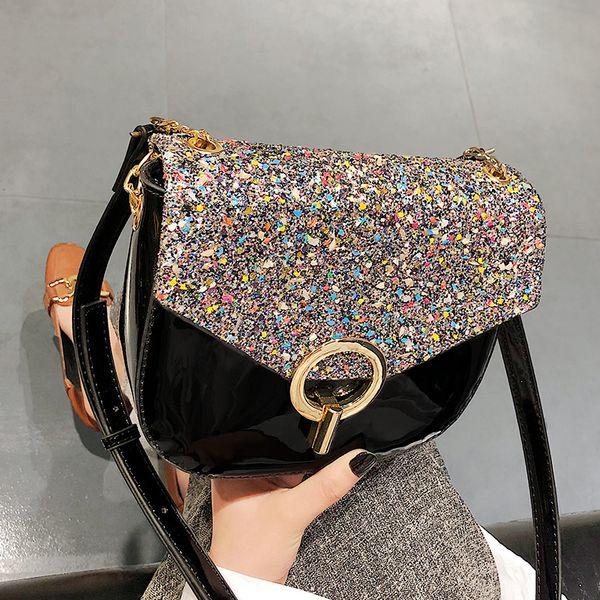 Bling Bling 2019 Handbags For Women Patent Leather Shoulder Strap Ladies Small Flap Bag Ladies Shoulder Messenger Bag Handbag