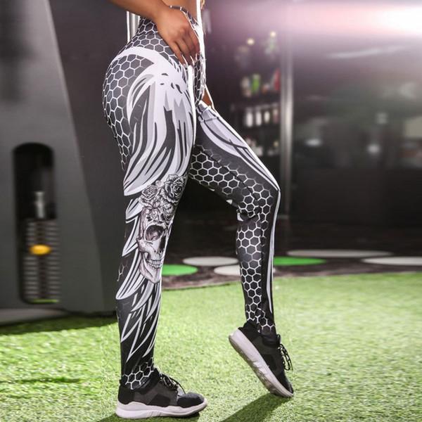 Skull Printed Women Yoga Gym Leggings Plump Hip High-waist Exercise Tights Woman Sports Fitness Pants Girls Booty Sportswear