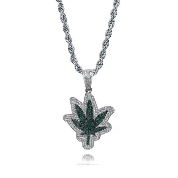 Bling Cubic Zirconia Green Leaves Necklace Men Jewelry Full Diamond Hip Hop Pendant Necklaces