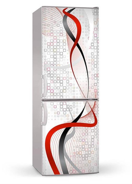 Fridge Wrap /Black Red Stripes /Removable Self Adhesive Vinyl /Peel and Stick Decal Wallpaper