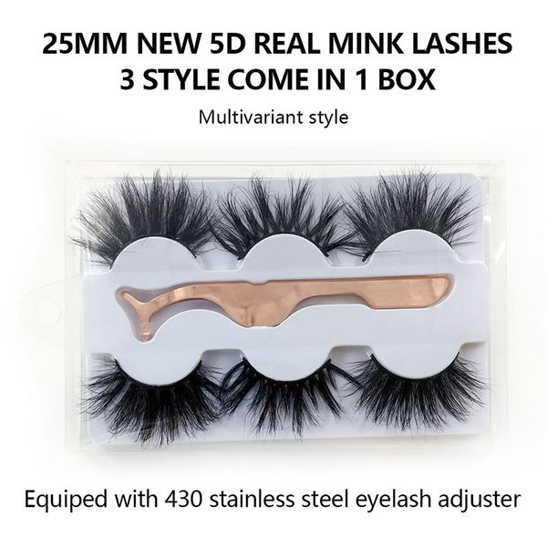 3Pairs/Set False Eyelashes 25mm real mink eyelash 3 styles come in one box
