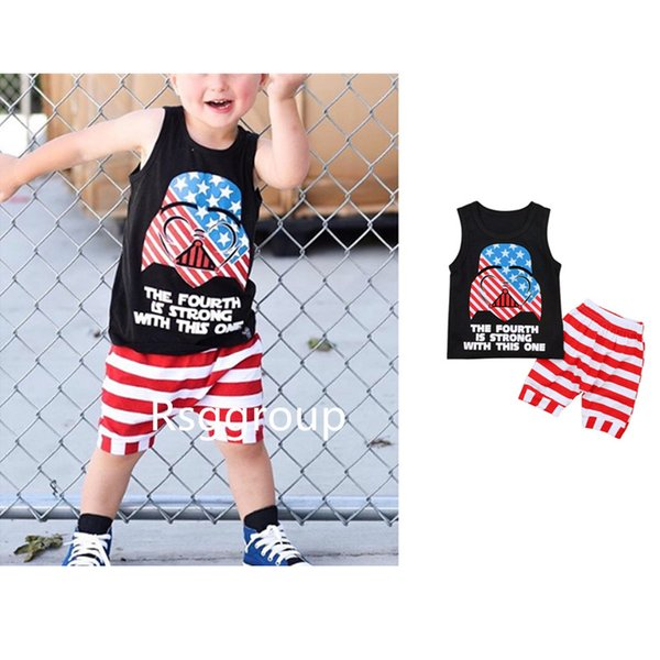 0-6T Kids Boys Black Sleeveless Tops White Red Strips Shorts 2pieces Suits THE FOURTH IS STRONG WITH THIS ONE Letters Printing Outfits