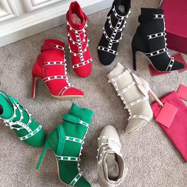 Designer Studs sock boots High Heel ankle boot leather trimmed stretch knit sock booties cage Rivet Boots 105mm for womans US4-10 L21