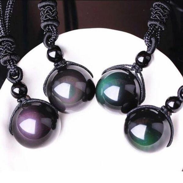DHL Natural Stone Black Obsidian Rainbow Eye Beads Ball Transfer Lucky Love Pendants Necklaces For Women Men Couple Gift