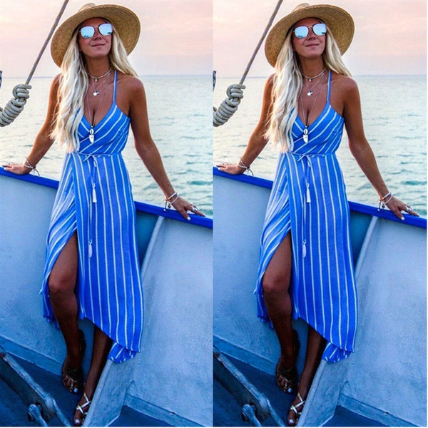Women Clothes Hot-selling Explosive 4-colour Fashion Print Stripes Designer Dress with Irregular Suspenders 100001 Dress for Women