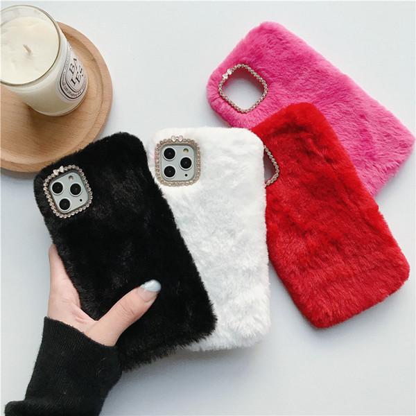 mobile phone case for 11 promax fur diamond plush mobile phone shell X/8p winter protective cover soft
