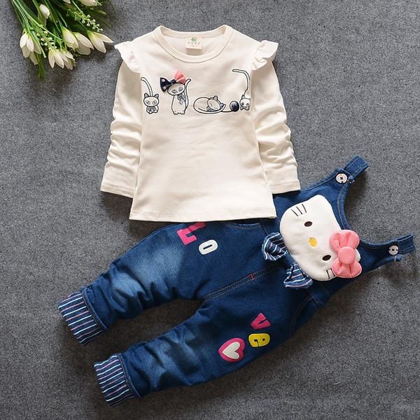 Bibicola Herbst Baby Mädchen Kleidung Set Kinder Denim Overalls Jeans Hosen + Bluse Volle Hülse Twinset Kinder Kleidung Set