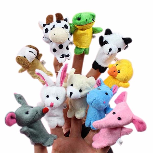 puppets 10x Cartoon Biological Animal Puppet Plush Toys Child Baby Favor Dolls finger puppets