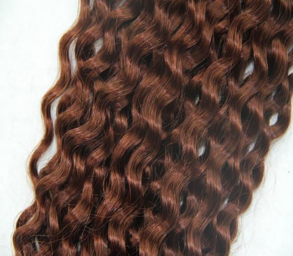 Dunkle kastanienbraune braune Farbe 100% peruanische Menschenhaar-Webart 10-30 Zoll Jungfrau-Klipp herein auf der Haar-Verlängerung lockig
