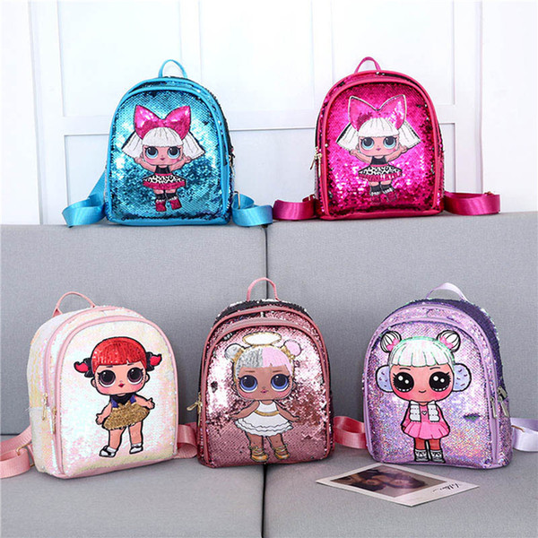 2019 New 3D Sequin kids bag holographic backpack for children laser shining for girls schoolbag high-quality
