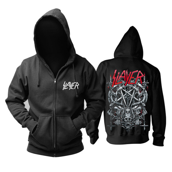 18 designs Slayer Cotton soft Rock hoodies shell jacket punk heavy metal zipper sweatshirt fleece sudadera Skull tracksuit