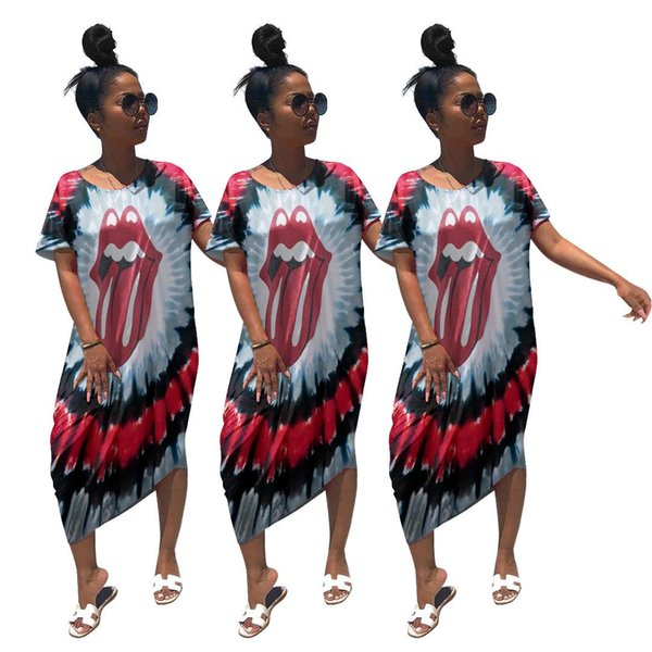 Summer Women Tie Dyed Dresses Girls Big Open Mouse Printed Short Sleeve Round Collar Long Loose Midi Pencil Dresses Multi S-2XL