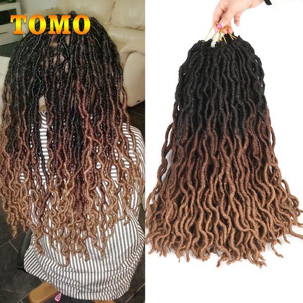 Faux Locs Curly Crochet Hair 18Inch Nu Locs Ombre Braiding Hair Extension Crochet Braids Low Temperature Fiber Synthetic Locs Brown Burgundy