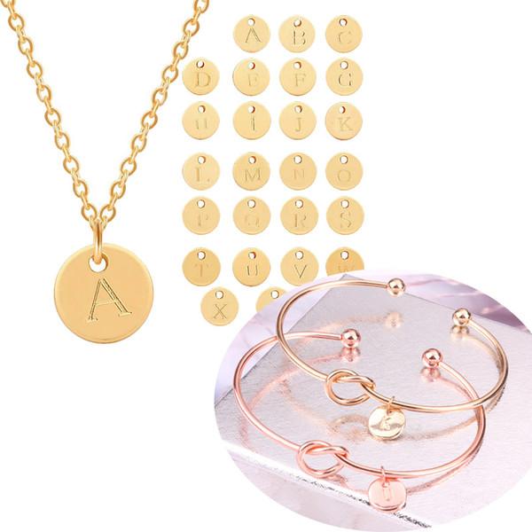 top popular Fashion 26 Letter Initial Necklace Bracelet Silver Gold Color Disc Necklace Alphabet Knot Bracelet for Women Family Letter Jewelry Set Gifts 2020