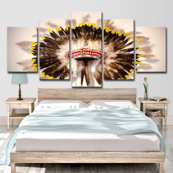 HD Gedruckt 5 Stück Leinwand Kunst Native American Indian hut Gefiederte Poster Wand Bild Moderne Home Decor Wanddekoration