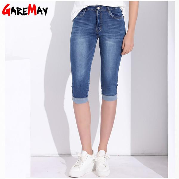 Garemay High Waist skinny Capris Jeans Stretch For Women Summer Plus Size Knee Length Short Female Jeans Capri Slim Women