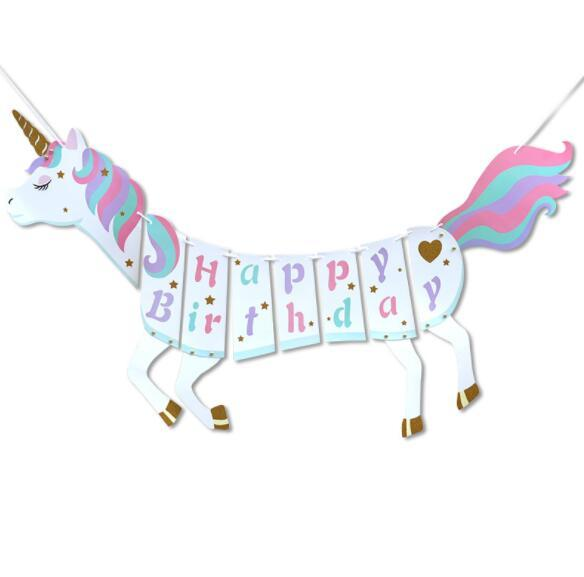 Unicorn Paper flag Happy Birthday Banner Wedding horse flag Kids Children Baby Bunting Adult Favors Supplies Event Party Decorations N3