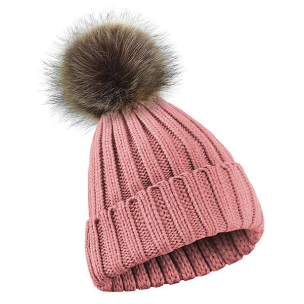 New 2019 Women Men Winter Ribbed Knitted Hat Solid Color Plain Woolen Cuffed Beanie Cap Thicken With Cute Fluffy Pompom Ball