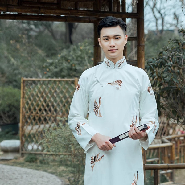 New ancient costume Chinese traditional Tang suit male cheongsam stand collar men's long robe cotton linen Embroidered gown