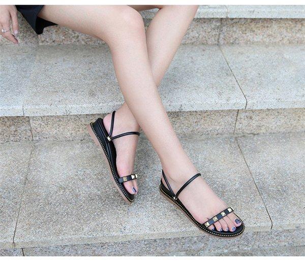2019 bayanlar sandalet tasarımcılar Sandalet tasarım slaytlar kadın terlik kutusu ile yüksek kaliteli gladyatör sandalet Deri kadın terlik