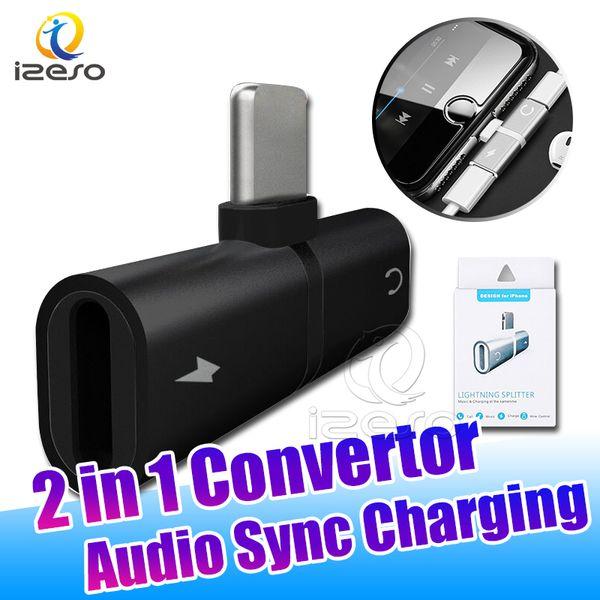 2 in 1 Audio Sync-Ladeadapter Metal Music Power Converter für iPhone XS MAX XR X 7 8 Plus mit Einzelhandelsverpackung