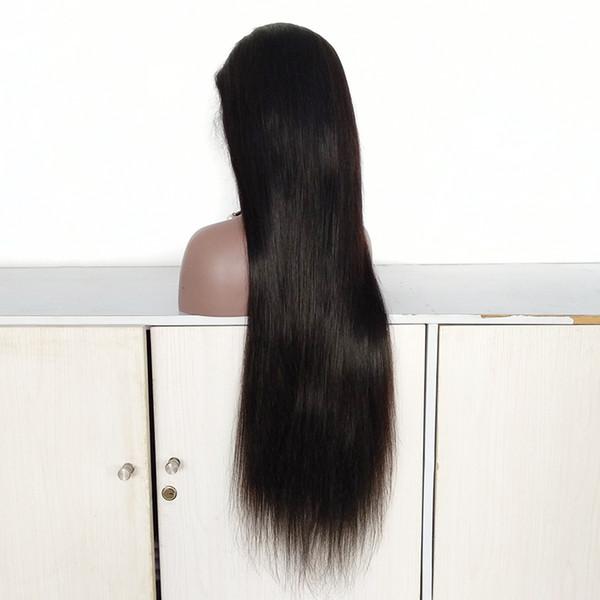 Cheveux de bébé autour de la ligne de cheveux naturels Ligne droite vierge brute perruque péruvienne complète de dentelle avant de lacet perruques de cheveux 28 pouces en Stock