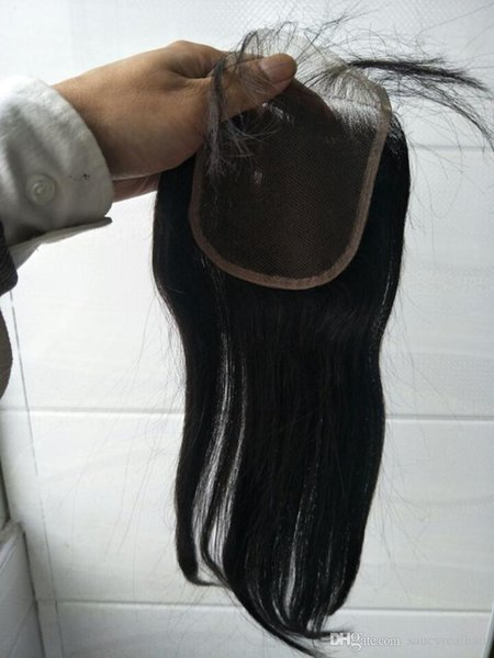 Grado 8A: paquetes de cabello brasileño recto 100% humano con cierre, trama de cabello natural remy de color natural virgen con cierre, dhl libre