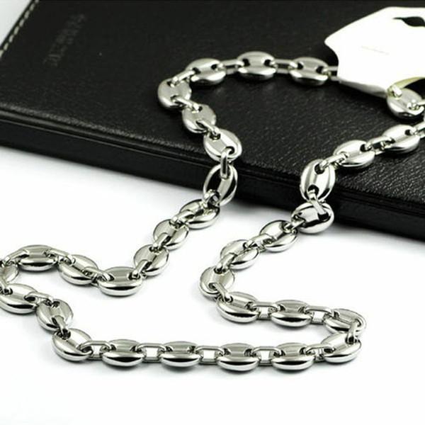 Marke Beliebte Herren Gliederkette Top Edelstahl 11mm Herren Kaffeebohne Kette Armband Silber Herren Damen Halskette 7-40inch