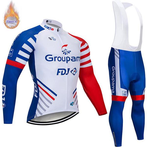 Nuevos hombres FDJ equipo invierno termal polar ciclismo manga larga jersey babero conjuntos maillot ropa ciclismo mtb bicicleta ropa deportiva al aire libre