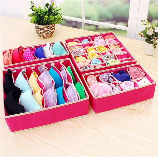 Home Non-woven Foldable Storage Box 4pcs/Set Bra Underwear Sock Closet Organizer Cube Basket Bins Containers Home Tidy Drawer Dividers B4252