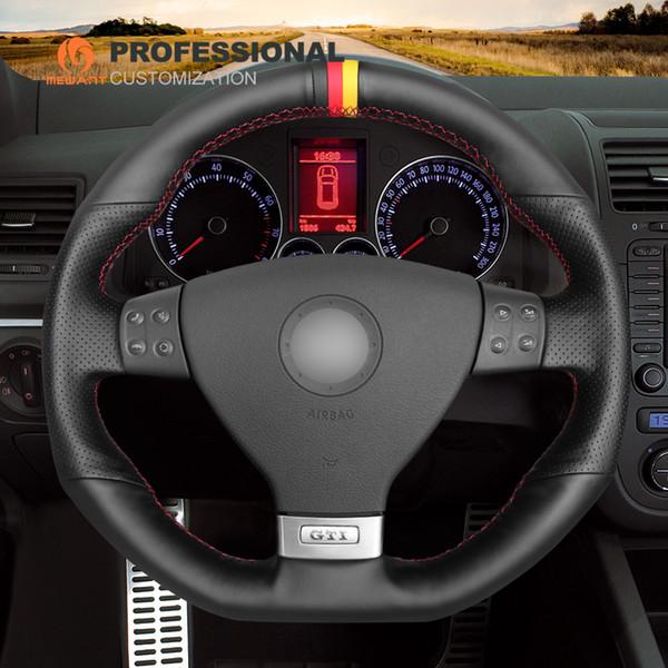 MEWANT Black Genuine Leather Hand Sew Comfortable Car Steering Wheel Cover for Volkswagen Golf 5 Mk5 GTI VW Golf 5 R32 Passat R GT