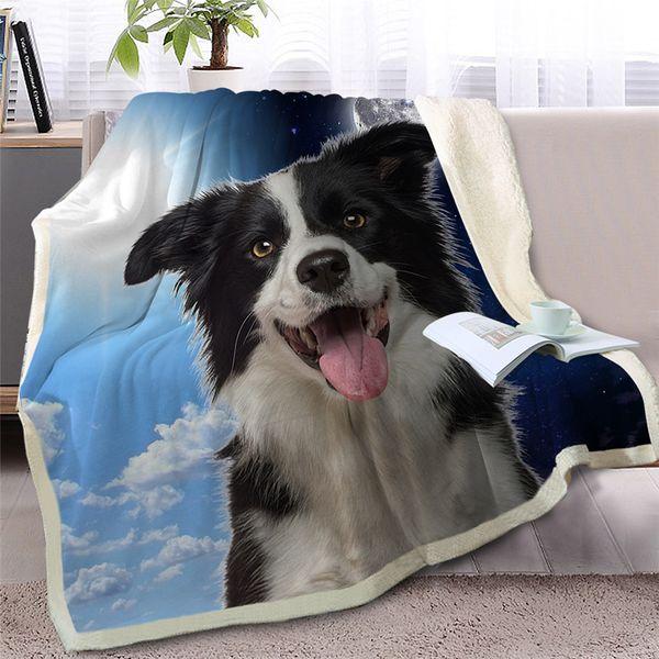BlessLiving собака Шерпа одеяло на кровати 3D бордер-колли бросить одеяло животное покрывало день и ночь небо пейзаж диван крышка