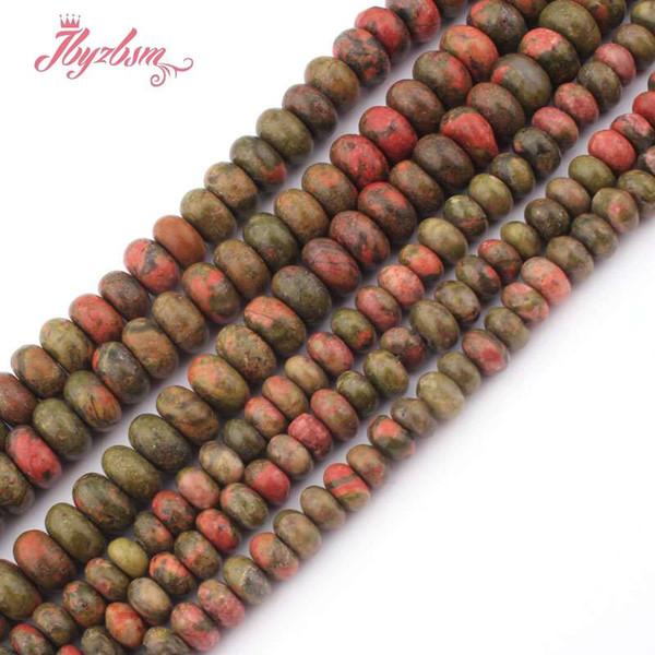 3x6,4x8mm glatte rondelle perlen multicolor unakite naturstein perlen für halskette armbänder schmuck machen 15
