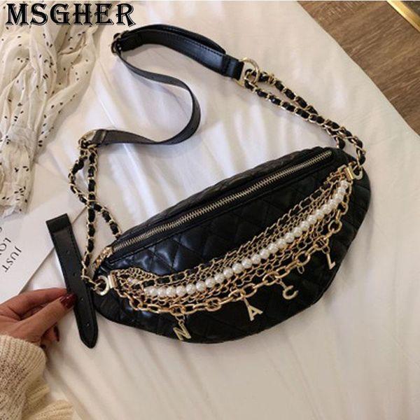 MSGHER Diamond-shaped Metal Chain Beading Letter Female Personality Designed Handsome Shoulder Bag Pocket New Women Bag WB2672