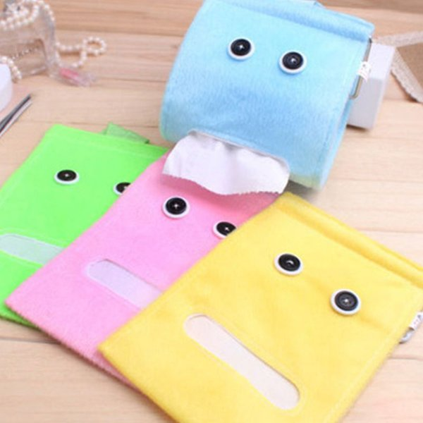Cartoon Plush Big Eyes Hanging Tissue Holder Wall-Mounted Cloth Craft Toilet Roll Paper Case Napkin Container Box Drop Ship JUL3
