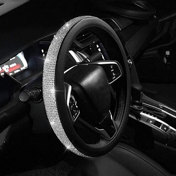 Carro Shaping Bling Bling Rhinestones elegante estilo da menina Durable Couro 15 polegadas de direcção do carro da capa Artesanato Roda Car Acessórios Interior