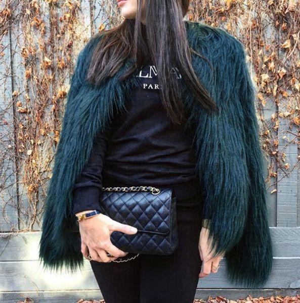 Kürklü Kürk Kadın Kabarık Sıcak Uzun Kollu Giyim Sonbahar Kış Ceket Ceket Tüylü Yakasız Palto Artı Boyutu 4XL